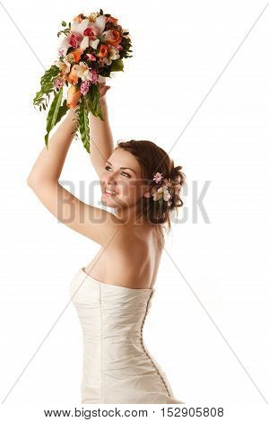 Bride is getting ready to throw the bouquet