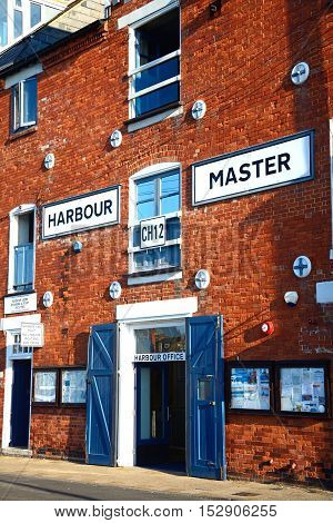 WEYMOUTH, UNITED KINGDOM - JULY 19, 2016 - View of the Harbour Masters Office building along the quayside Weymouth Dorset England UK Western Europe, July 19, 2016.