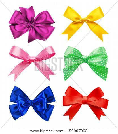 Set of colorful festive bows on white background.