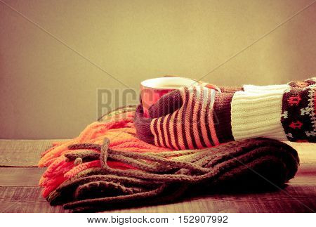 Scarf and cup of hot chocolate in the hands warm concept retro style