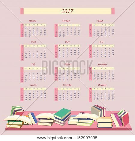 Calendar for 2017 Year with books .  Week starts from Sunday. Vector illustration.
