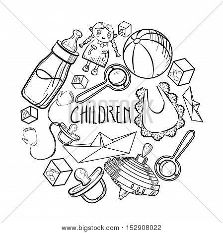 Baby Shower Elements in a circular design. Vector illustration, EPS 10
