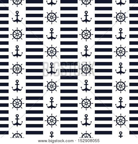 Maritime mood, Seamless nautical pattern with anchors and steering wheels, striped background