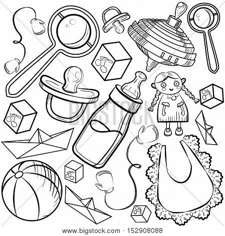 Baby Shower Elements on a white background. Vector illustration, EPS 10