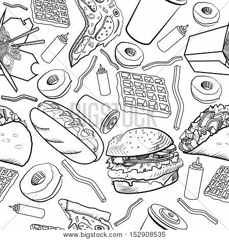 Fast food pattern on a white background. Vector illustration, EPS 10