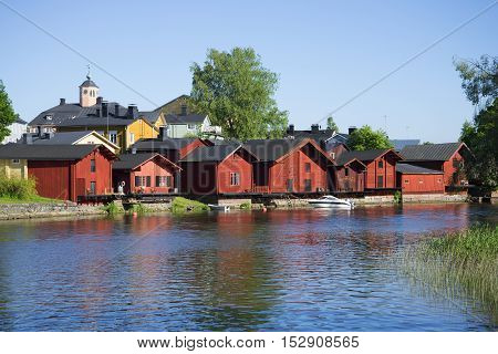 View on the ancient coastal barns in Porvoo. Finland