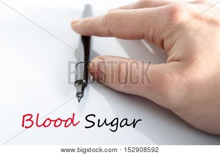 Blood sugar text concept isolated over white background