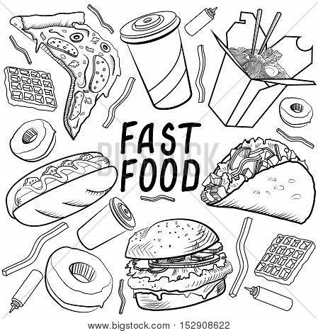 Fast food set on a white background. Vector illustration, EPS 10