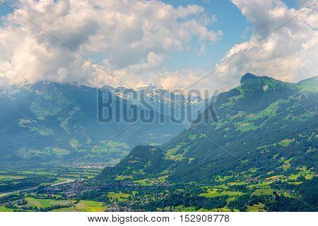 Aerial landscape view on the mountains in Liechtenstein