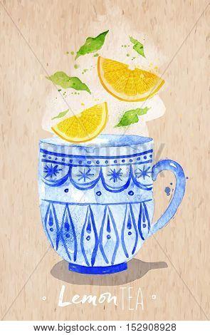 Watercolor teacup with lemon tea drawing on kraft paper background
