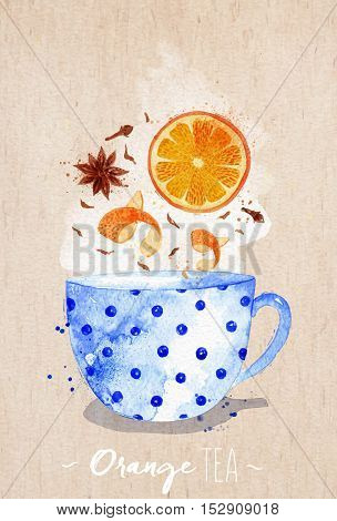 Watercolor teacup with orange tea cloves anise drawing on kraft paper background