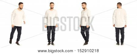 A Man Stand In Black Pants Isolated On White Background