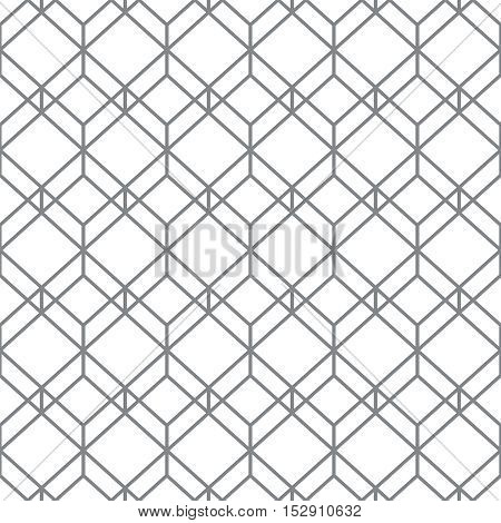 Monochrome seamless pattern. Modern stylish geometric texture with regularly repeating hexagons rhombuses. Vector element of graphic design