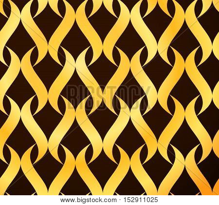 Vector Seamless Golden Wavy Lines Pattern. Abstract Background