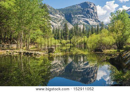 Half Dome reflecting in a Mirror Lake, Yosemite National Park. California, USA