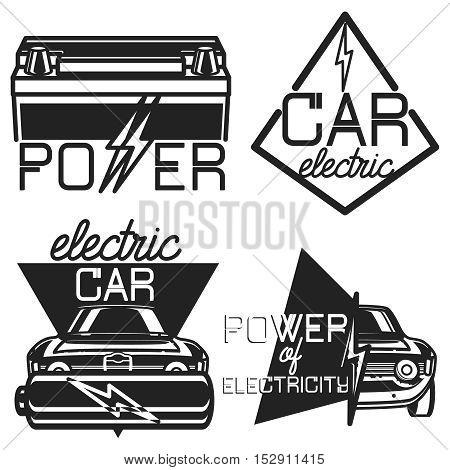 Vintage electric car emblems, logoes, labels on white background. Vector illustration, EPS 10