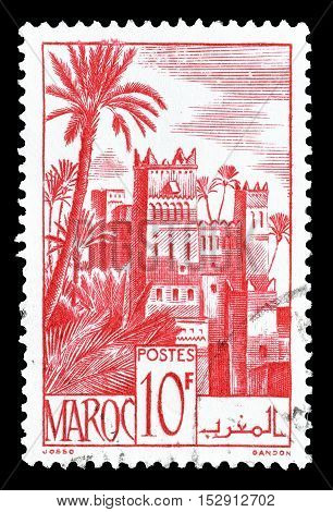 MOROCCO - CIRCA 1947 : Cancelled postage stamp printed by Morocco, that shows Castle.
