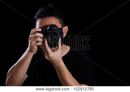 Asian Chinese Male Photographer Holding Digital Slr Camera