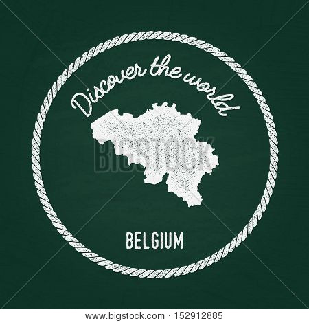 White Chalk Texture Vintage Insignia With Kingdom Of Belgium Map On A Green Blackboard. Grunge Rubbe