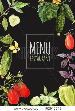 Watercolor menu template with hand drawn vegetables