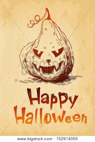 Happy Halloween pumpkin Jack O Lantern drawn in a sketch style.
