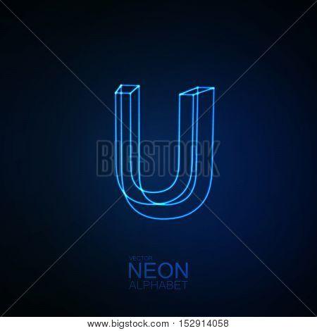 Neon 3D letter U. Typographic element. Part of glow neon alphabet. Vector illustration