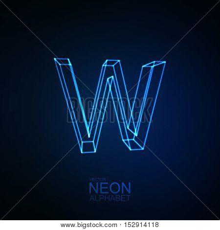Neon 3D letter W. Typographic element. Part of glow neon alphabet. Vector illustration