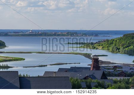 Amazing panoramic view of Volga river in picturesque part of central Russia