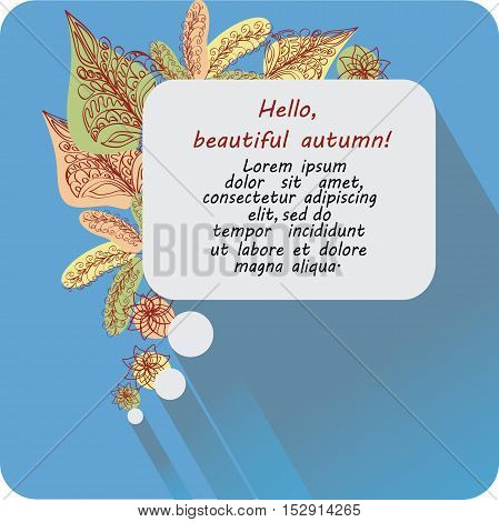 Message Hello, beautiful autumn! Banner, poster. Design images to create greetings, invitations, posters, brief information.