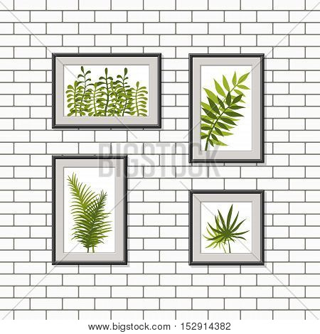 Illustration of nature pictures on a wall