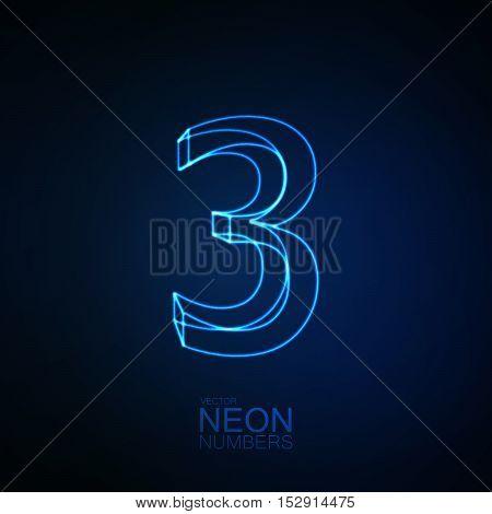 Neon 3D number 3. Typographic element. Part of glow neon alphabet. Digit three. Vector illustration