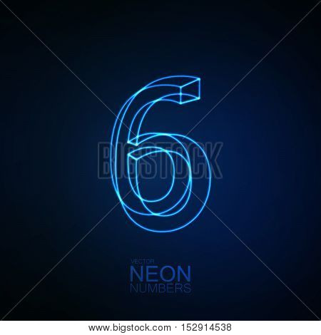 Neon 3D number 6. Typographic element. Part of glow neon alphabet. Digit six. Vector illustration