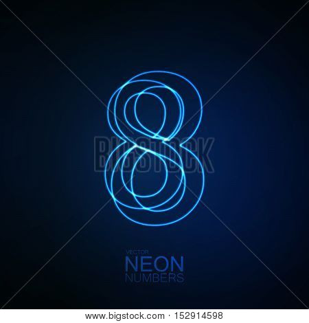 Neon 3D number 8. Typographic element. Part of glow neon alphabet. Digit eight. Vector illustration