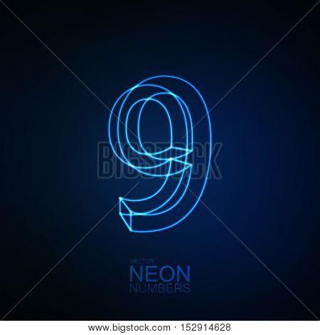 Neon 3D number 9. Typographic element. Part of glow neon alphabet. Digit nine. Vector illustration