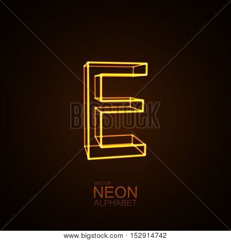 Neon 3D letter E. Typographic vector element for design. Part of glow neon alphabet. Vector illustration