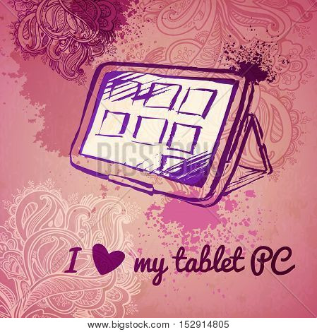 Tablet PC for a girl. vector sketch on a pink background