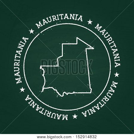 White Chalk Texture Rubber Seal With Islamic Republic Of Mauritania Map On A Green Blackboard. Grung