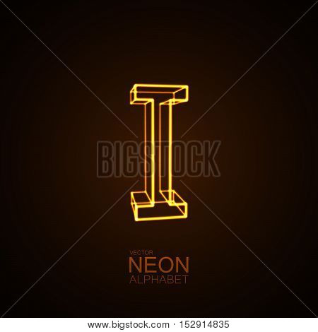 Neon 3D letter I. Typographic vector element for design. Part of glow neon alphabet. Vector illustration