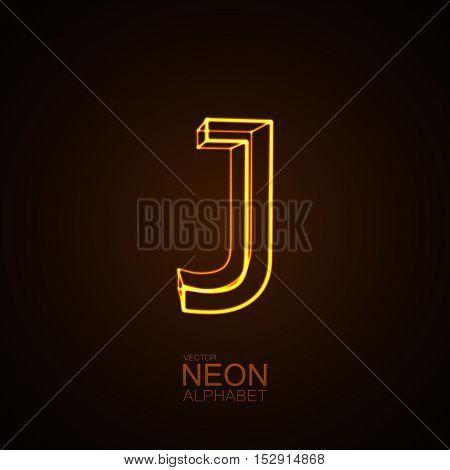 Neon 3D letter J. Typographic vector element for design. Part of glow neon alphabet. Vector illustration