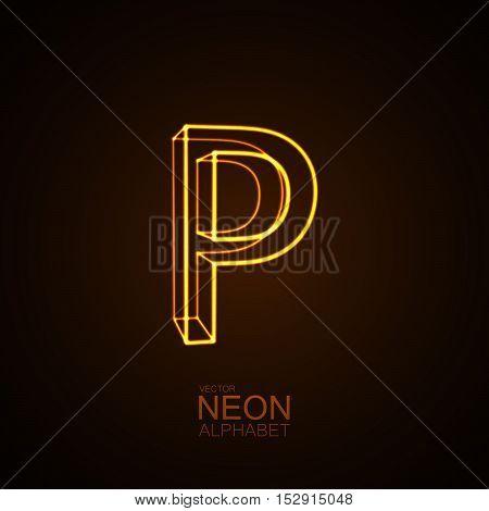 Neon 3D letter P. Typographic vector element for design. Part of glow neon alphabet. Vector illustration