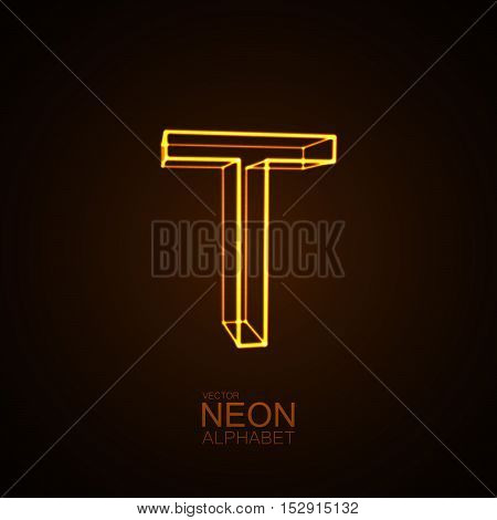 Neon 3D letter T. Typographic vector element for design. Part of glow neon alphabet. Vector illustration