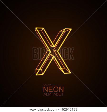 Neon 3D letter X. Typographic vector element for design. Part of glow neon alphabet. Vector illustration