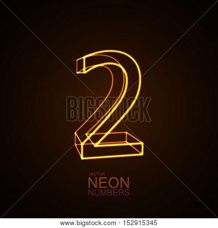 Neon 3D number 2. Typographic vector element for design. Part of glow neon alphabet. Digit two. Vector illustration
