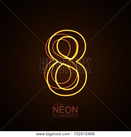 Neon 3D number 8. Typographic vector element for design. Part of glow neon alphabet. Digit eight. Vector illustration
