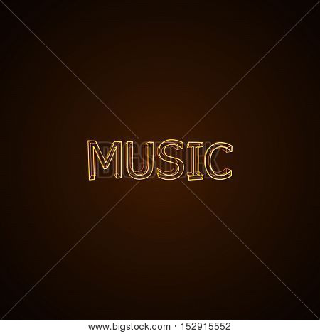 Music neon sign. Vector typographical neon illustration.