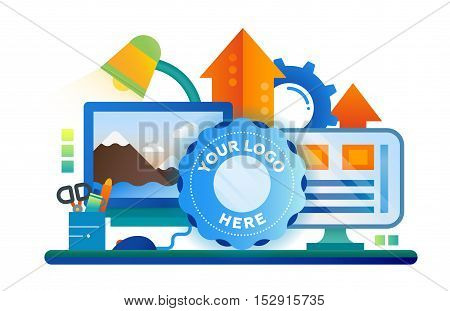 Image Processing - vector modern flat design illustration with work place, computer screens, arrows up, logo frame