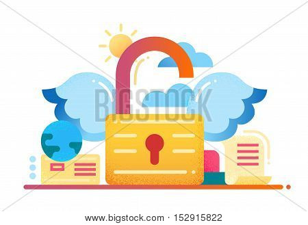 Freedom - vector modern flat design illustration with padlock with wings unlocked