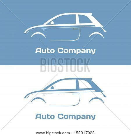Auto company logo design concept with vintage hatchback car silhouette on blue and white background. Vector illustration.