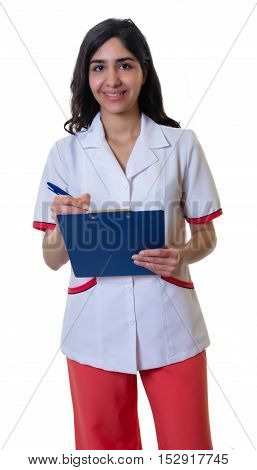 Arabian pharmacist with clipboard on an isolated white background for cut out