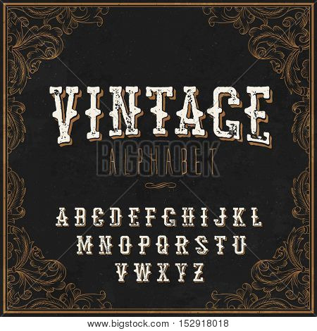 Vintage Western alphabet. With Art frame border. On the blackboard background. For labels and any type retro designs